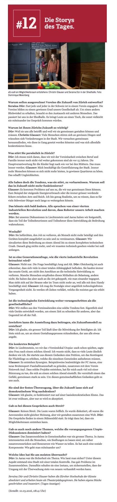 Interview im Tages-Anzeiger mit Christin Glauser und Seraina Dür