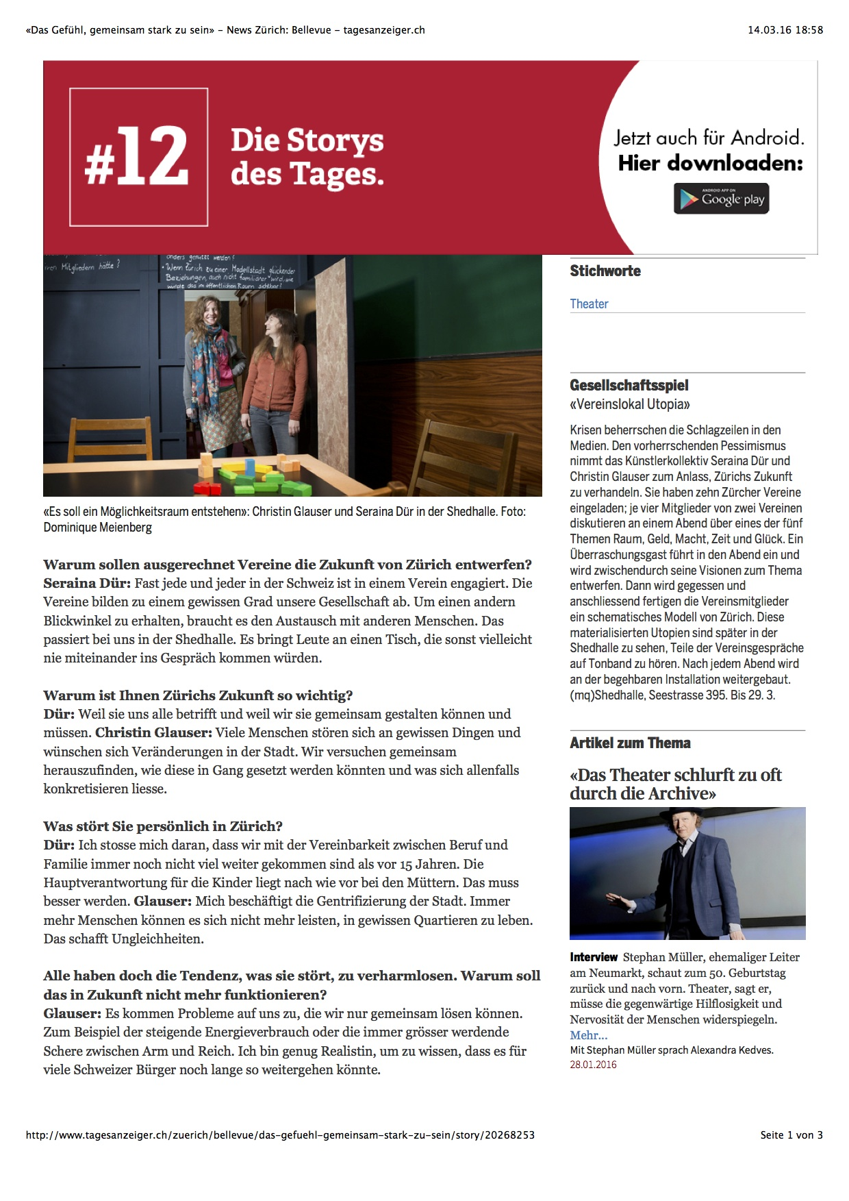 «Das Gefühl, gemeinsam stark zu sein» - News Zürich: Bellevue - tagesanzeiger.ch