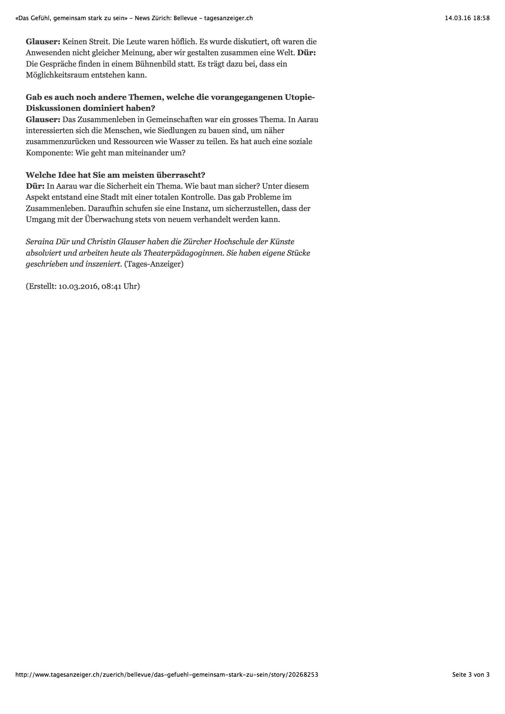 «Das Gefühl, gemeinsam stark zu sein»2 - News Zürich: Bellevue - tagesanzeiger.ch