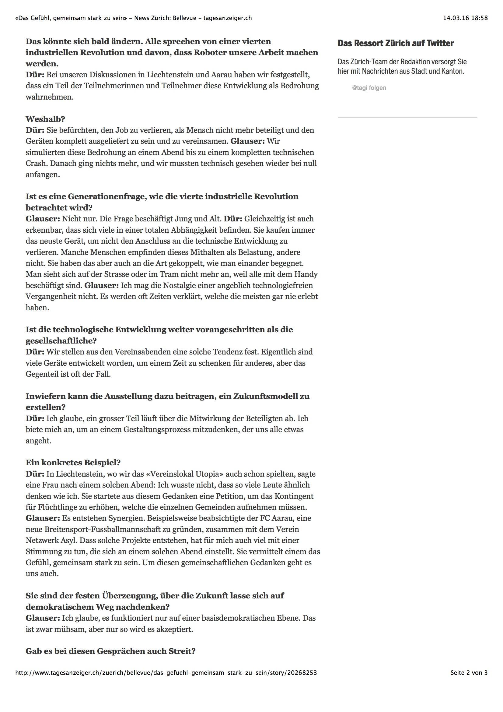 «Das Gefühl, gemeinsam stark zu sein»3 - News Zürich: Bellevue - tagesanzeiger.ch