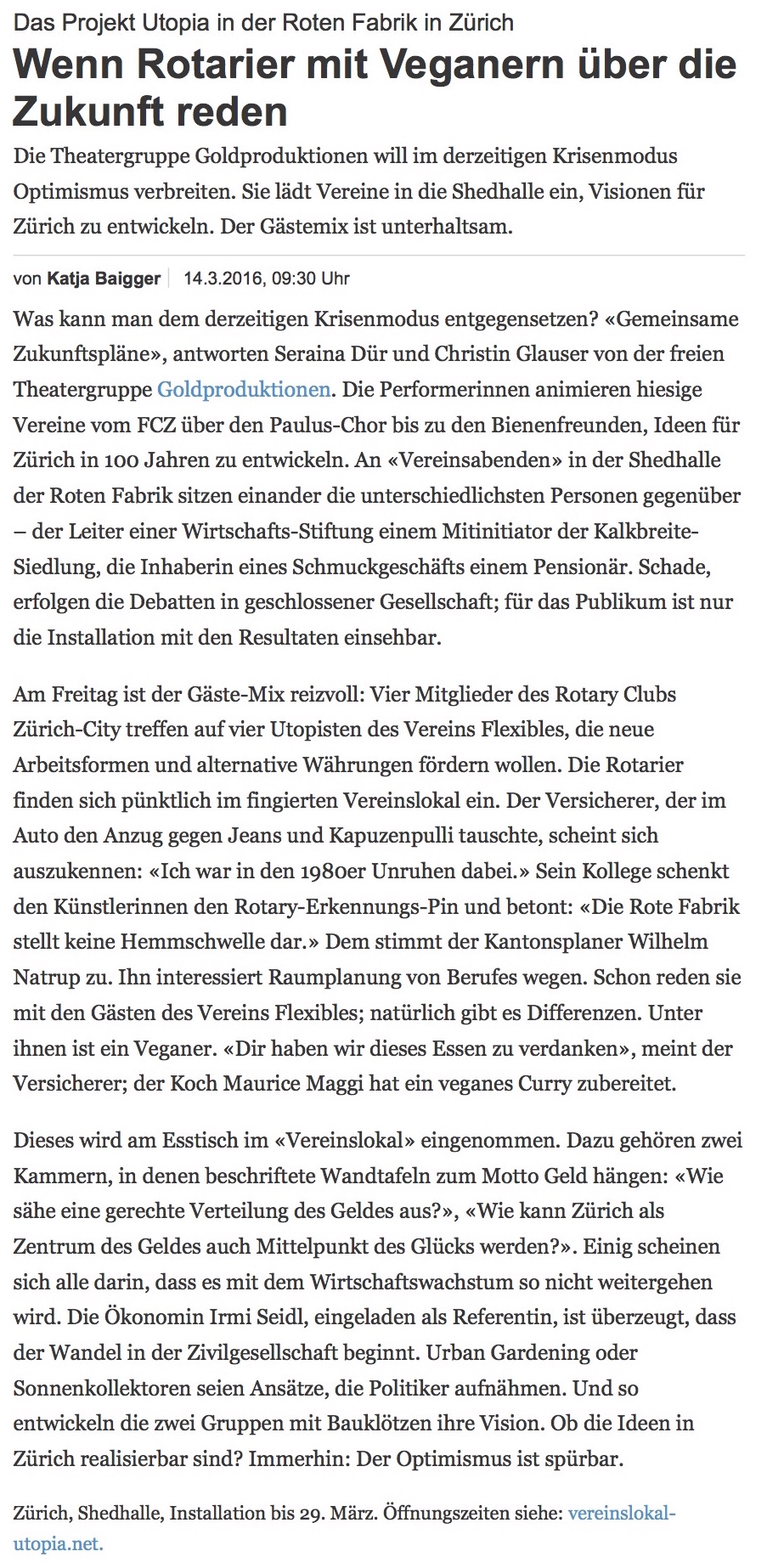 Das Projekt Utopia in der Roten Fabrik in Zürich: Wenn Rotarier mit Veganern über die Zukunft reden - NZZ Bühne-1